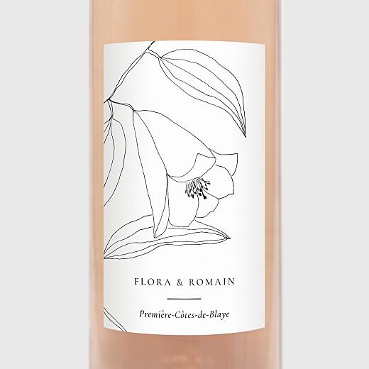 Étiquette de bouteille mariage Poésie amoureuse blanc - Vue 2