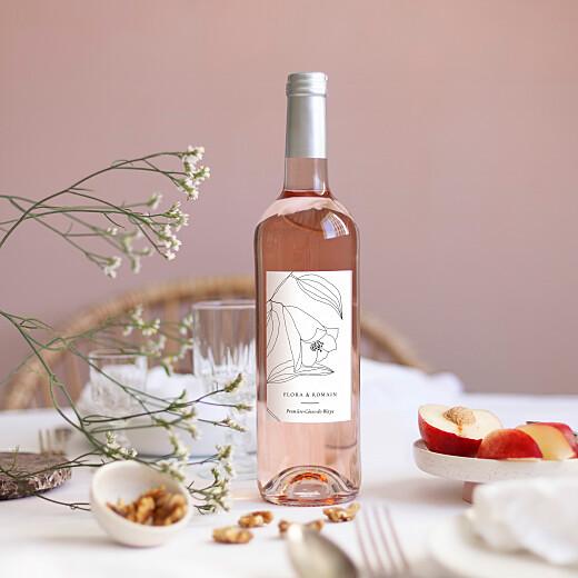 Étiquette de bouteille mariage Poésie amoureuse blanc - Vue 1