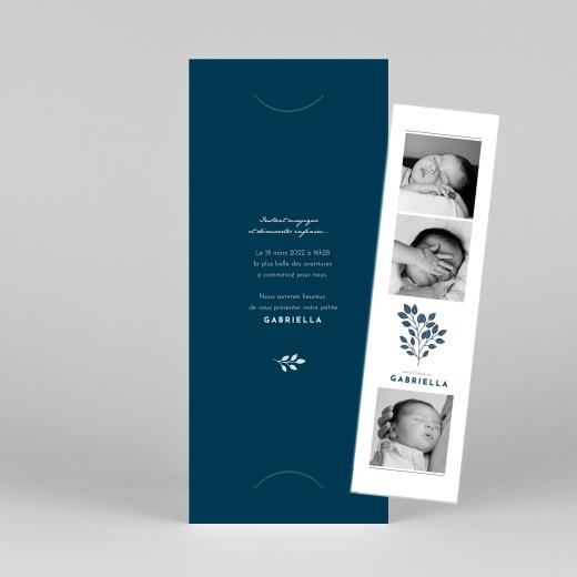 Faire-part de naissance Signature végétale (marque-page) bleu - Vue 1