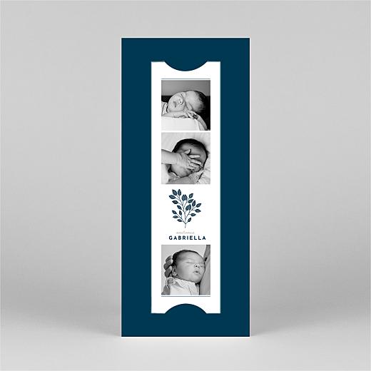 Faire-part de naissance Signature végétale (marque-page) bleu - Vue 2