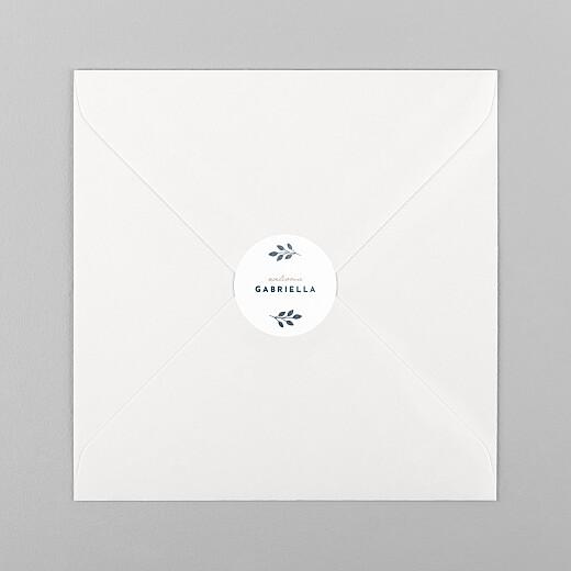 Stickers pour enveloppes naissance Signature végétale bleu - Vue 1