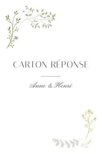 Carton réponse mariage Brins d'été bambou