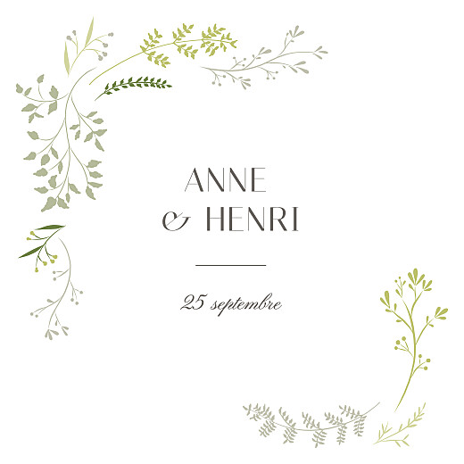 Faire-part de mariage Brins d'été (4 pages) lichen