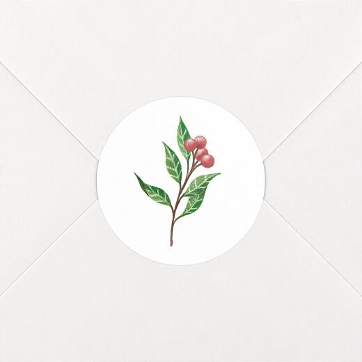Stickers pour enveloppes vœux Année fleurie blanc - Vue 2