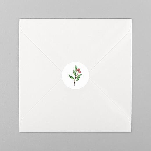 Stickers pour enveloppes vœux Année fleurie blanc - Vue 1