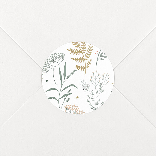Stickers pour enveloppes vœux Liberty feuillage vert et or - Vue 2