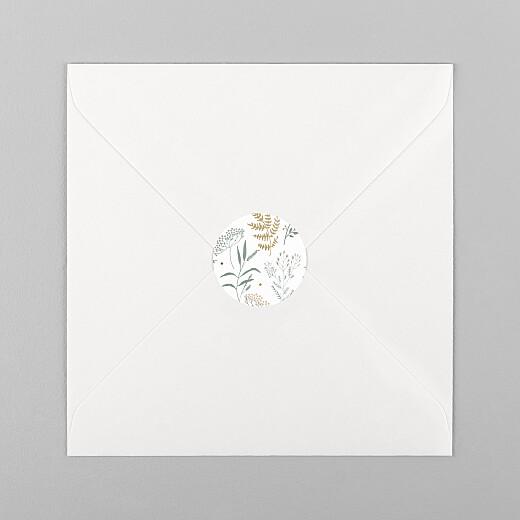 Stickers pour enveloppes vœux Liberty feuillage vert et or - Vue 1