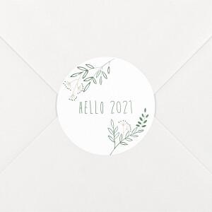 Stickers pour enveloppes vœux Ronde des prés blanc