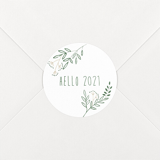 Stickers pour enveloppes vœux Ronde des prés blanc - Vue 2