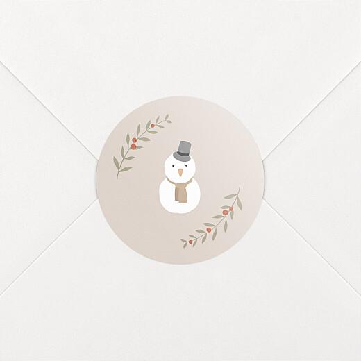 Stickers pour enveloppes vœux Cottage (bonhomme de neige) rose - Vue 2