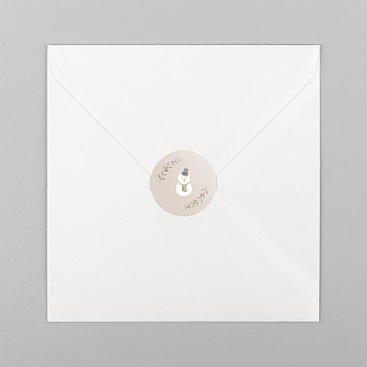 Stickers pour enveloppes vœux Cottage (bonhomme de neige) rose - Vue 1