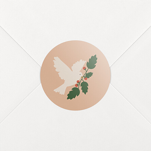 Stickers pour enveloppes vœux Mon beau sapin colombe rose - Vue 2