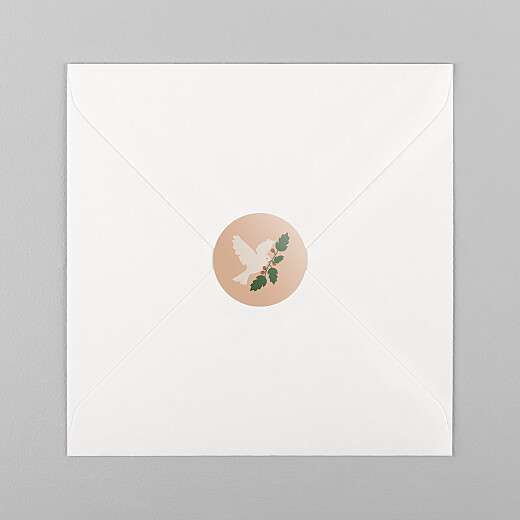 Stickers pour enveloppes vœux Mon beau sapin colombe rose - Vue 1