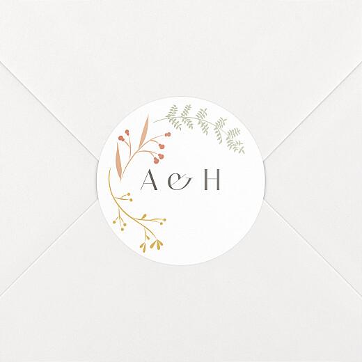 Stickers pour enveloppes mariage Brins d'été ocre - Vue 2