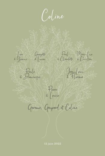 Faire-part de naissance Arbre généalogique (portrait) vert