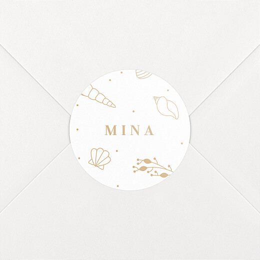 Stickers pour enveloppes naissance Élégant coquillage sable - Vue 2