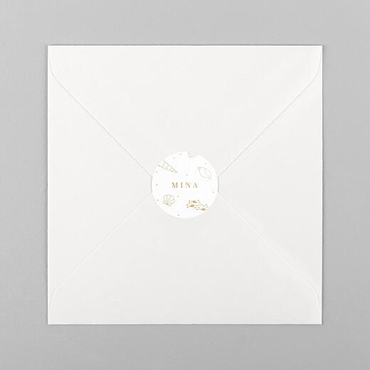 Stickers pour enveloppes naissance Élégant coquillage sable - Vue 1
