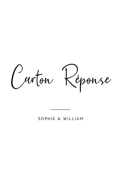 Carton réponse mariage Intemporel (portait) noir finition