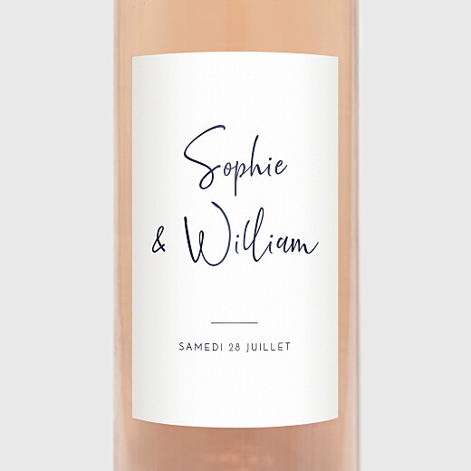 Étiquette de bouteille mariage Intemporel bleu - Vue 2