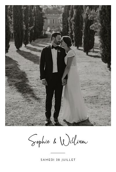 Carte de remerciement mariage Intemporel noir finition