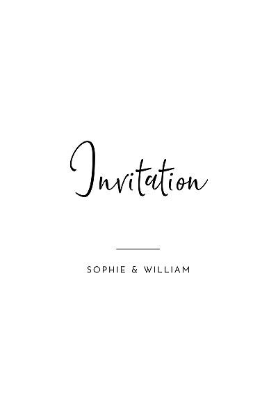 Carton d'invitation mariage Intemporel (portrait) noir finition