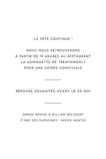Carton d'invitation mariage Intemporel (portrait) noir - Page 2