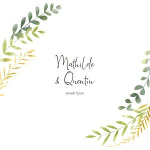 Faire-part de mariage Enchanté (4 pages) dorure vert