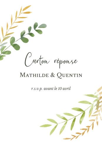 Carton réponse mariage Enchanté vert