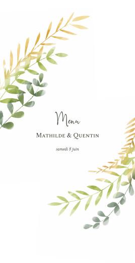 Menu de mariage Enchanté vert