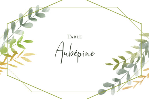 Marque-table mariage Enchanté vert