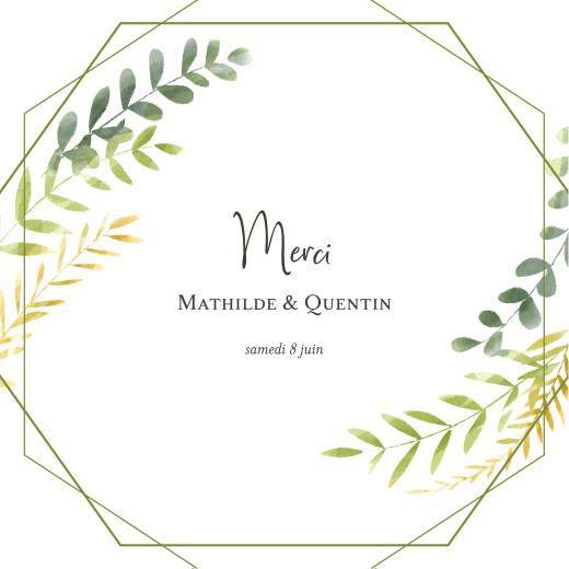Carte de remerciement mariage Enchanté vert