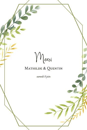 Carte de remerciement mariage Enchanté (portrait) vert