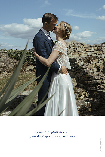 Carte de remerciement mariage Ronde des prés (dorure) bleu - Page 2