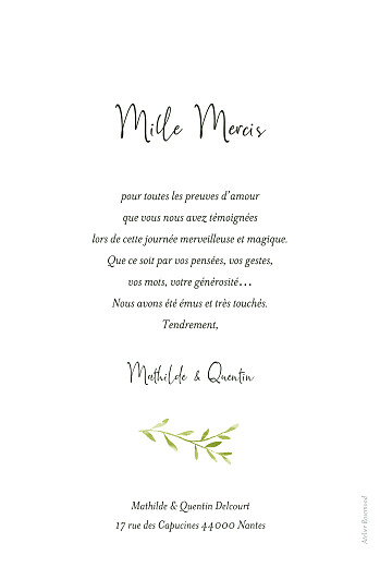 Carte de remerciement mariage Enchanté (portrait) dorure vert - Page 2