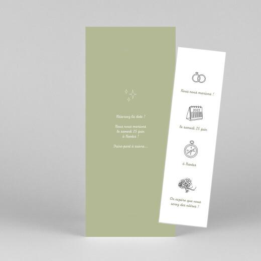 Save the Date Votre mariage en pictos (photomaton) vert - Vue 1
