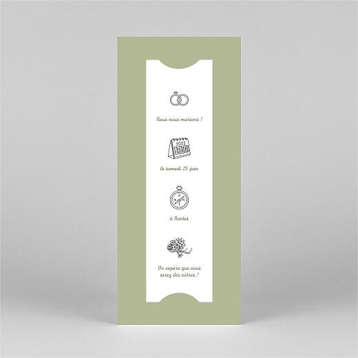 Save the Date Votre mariage en pictos (photomaton) vert - Vue 2