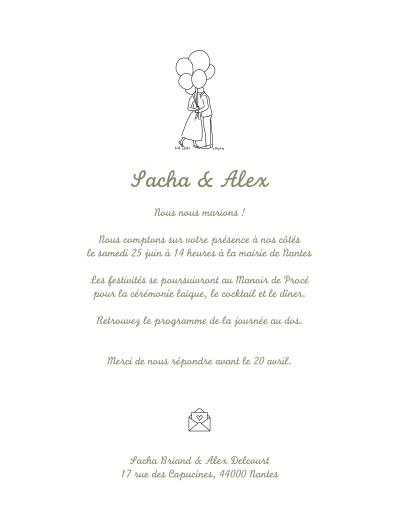 Faire-part de mariage Votre mariage en pictos vert