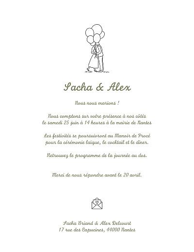 Faire-part de mariage Votre mariage en pictos vert finition