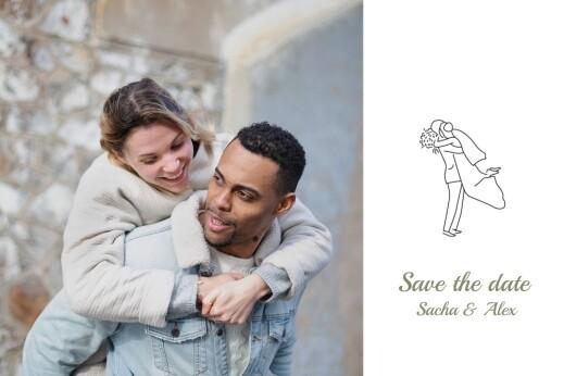 Save the Date Votre mariage en pictos vert