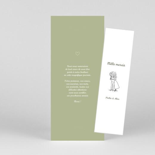 Carte de remerciement mariage Votre mariage en pictos (marque-page) vert - Vue 1