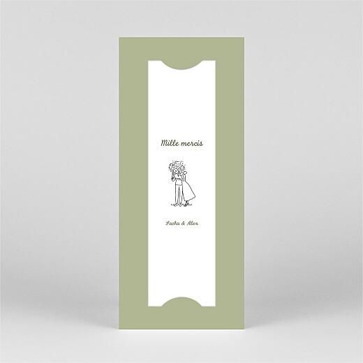 Carte de remerciement mariage Votre mariage en pictos (marque-page) vert - Vue 2