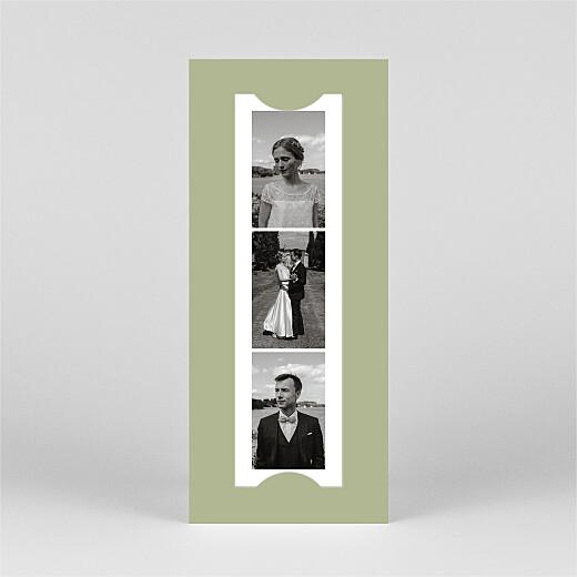 Carte de remerciement mariage Votre mariage en pictos (marque-page) vert - Vue 3