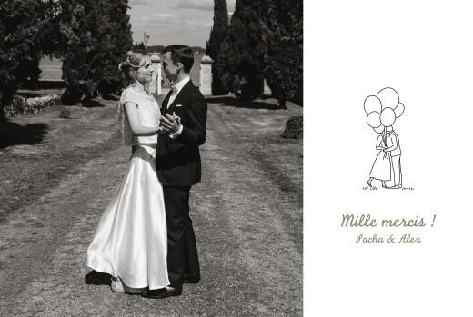 Carte de remerciement mariage Votre mariage en pictos blanc