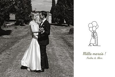 Carte de remerciement mariage Votre mariage en pictos blanc finition