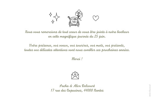 Carte de remerciement mariage Votre mariage en pictos blanc - Page 2