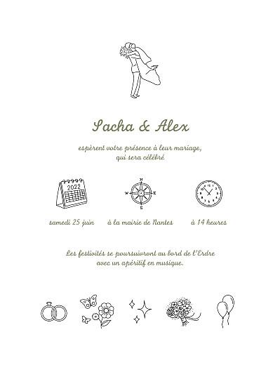 Faire-part de mariage Votre mariage en pictos (classique) blanc