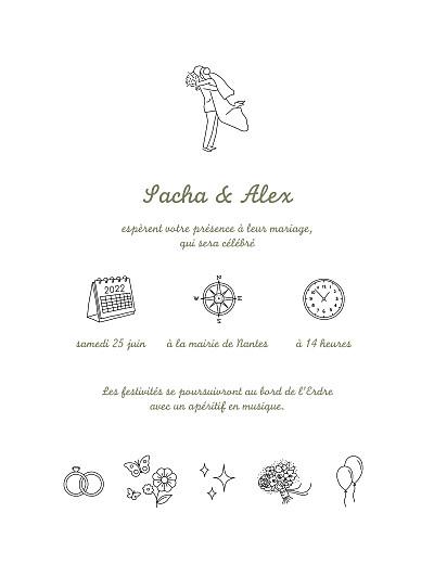 Faire-part de mariage Votre mariage en pictos (classique) blanc finition
