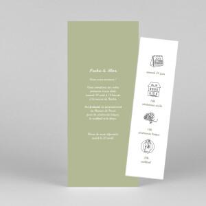 Faire-part de mariage Votre mariage en pictos (marque-page) vert