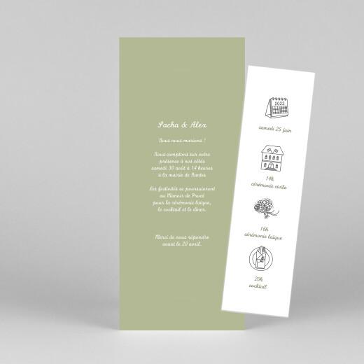 Faire-part de mariage Votre mariage en pictos (marque-page) vert - Vue 1