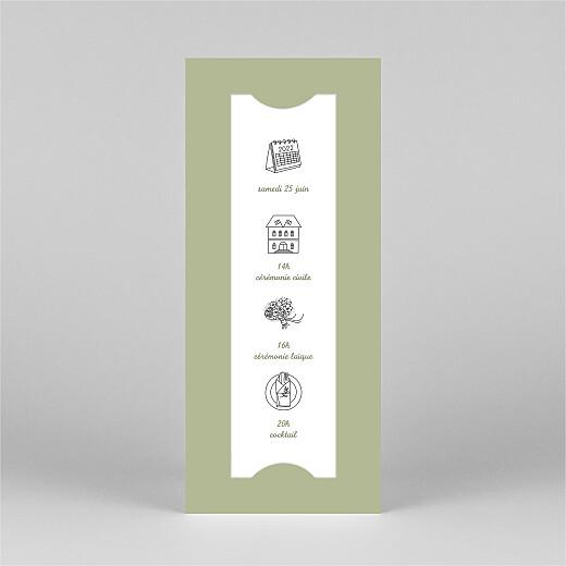 Faire-part de mariage Votre mariage en pictos (marque-page) vert - Vue 2